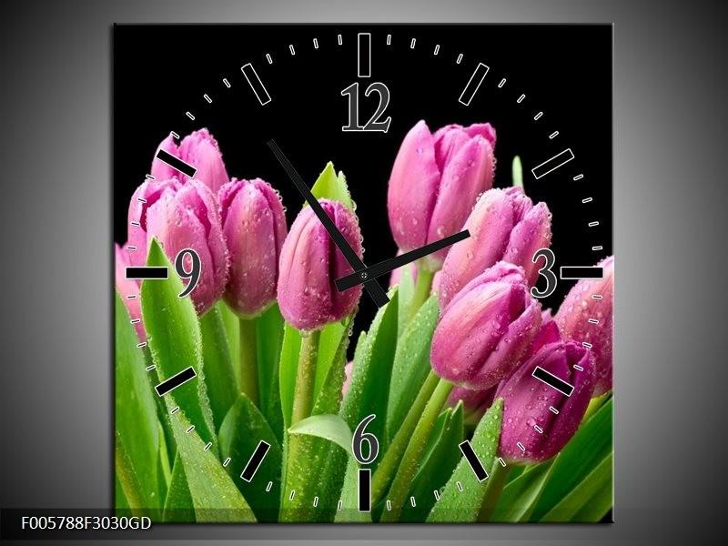 Wandklok op Glas Tulpen | Kleur: Roze, Zwart, Groen | F005788CGD