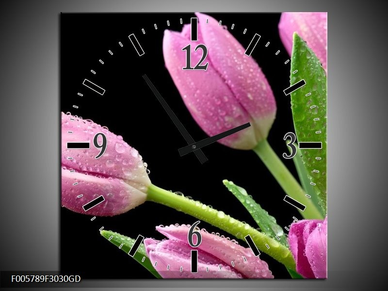 Wandklok op Glas Tulpen | Kleur: Roze, Zwart, Groen | F005789CGD