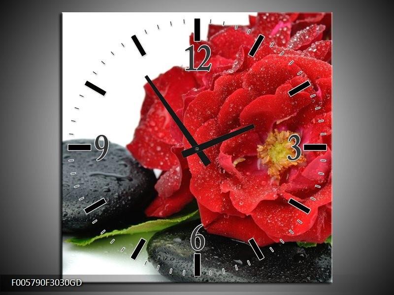 Wandklok op Glas Roos | Kleur: Rood, Zwart, Wit | F005790CGD