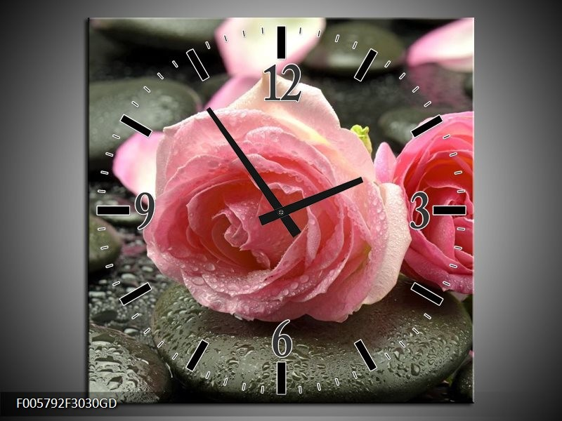 Wandklok op Glas Roos | Kleur: Roze, Grijs | F005792CGD