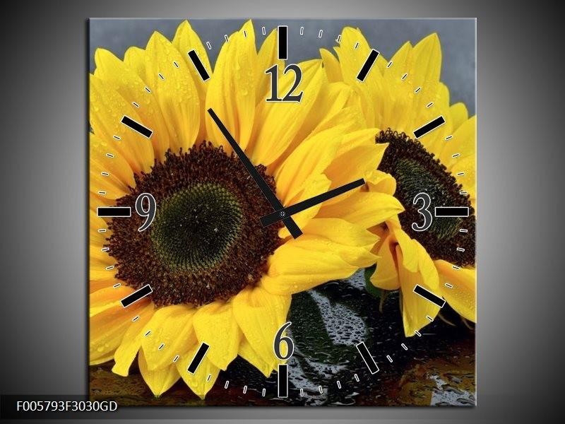 Wandklok op Glas Zonnebloem | Kleur: Geel, Zwart | F005793CGD