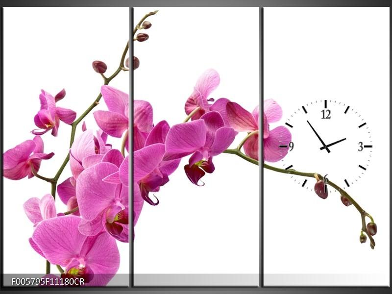 Klok schilderij Orchidee | Roze, Wit | 111x80cm 3Luik