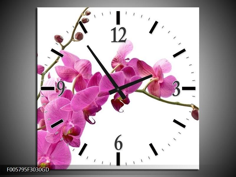Wandklok op Glas Orchidee | Kleur: Roze, Wit | F005795CGD