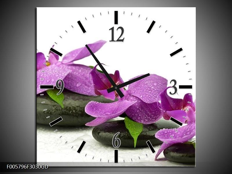 Wandklok op Glas Orchidee | Kleur: Paars, Wit | F005796CGD