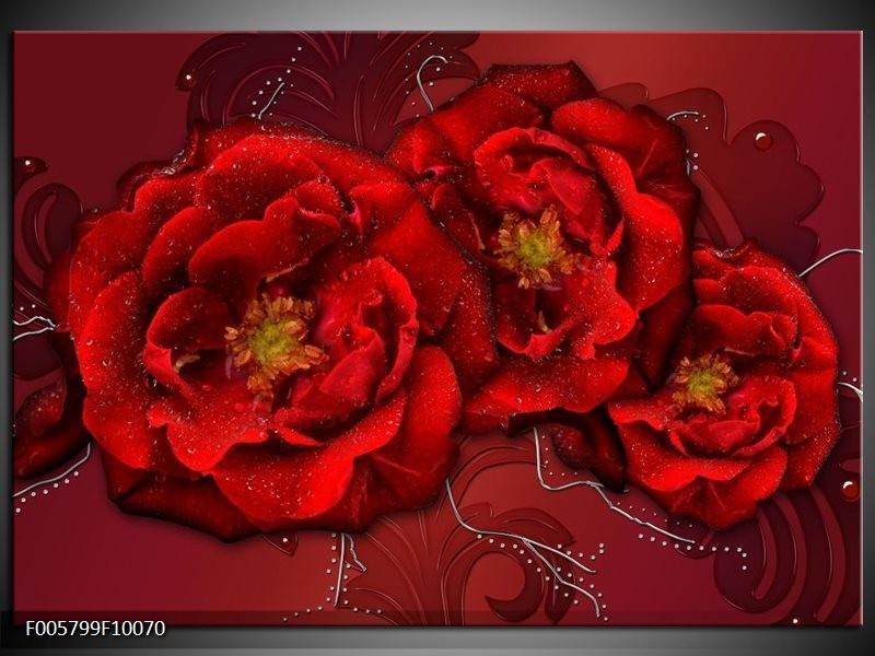Glas schilderij Bloem | Rood