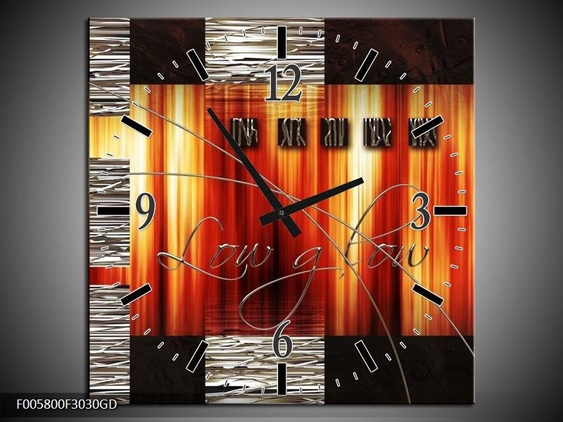 Wandklok op Glas Modern | Kleur: Oranje, Rood, Geel | F005800CGD