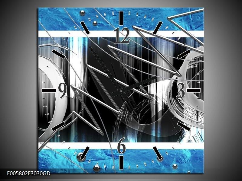 Wandklok op Glas Modern | Kleur: Blauw, Grijs, Wit | F005802CGD