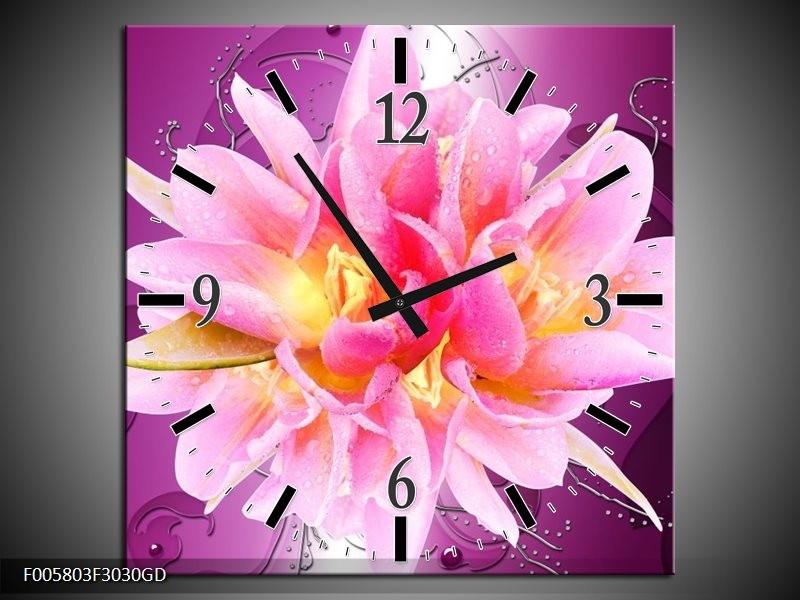 Wandklok op Glas Modern | Kleur: Roze, Paars | F005803CGD
