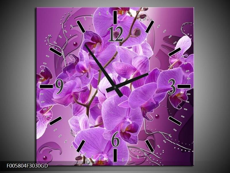 Wandklok op Glas Orchidee   Kleur: Paars   F005804CGD
