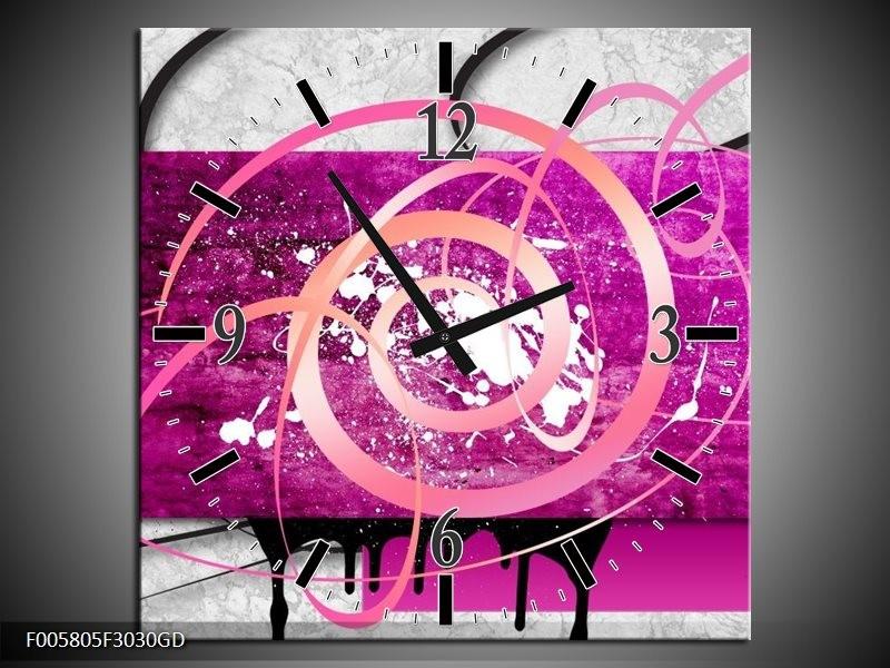 Wandklok op Glas Modern | Kleur: Roze, Paars, Grijs | F005805CGD