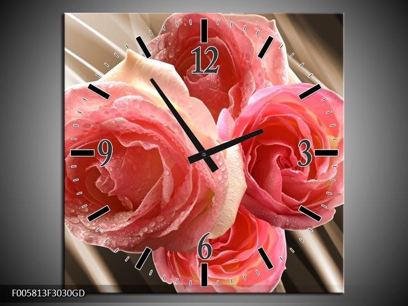 Wandklok op Glas Roos | Kleur: Sepia, Roze | F005813CGD