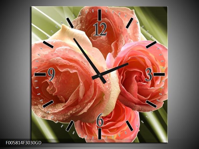 Wandklok op Glas Roos   Kleur: Roze, Groen   F005814CGD