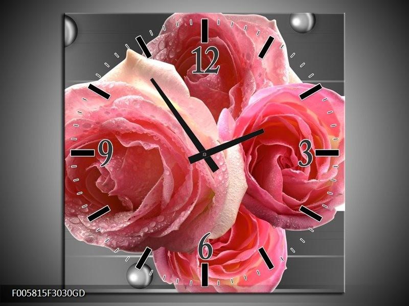 Wandklok op Glas Roos | Kleur: Roze, Grijs | F005815CGD