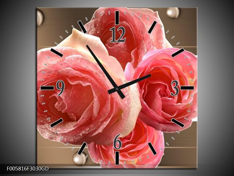 Wandklok op Glas Roos | Kleur: Sepia, Roze | F005816CGD