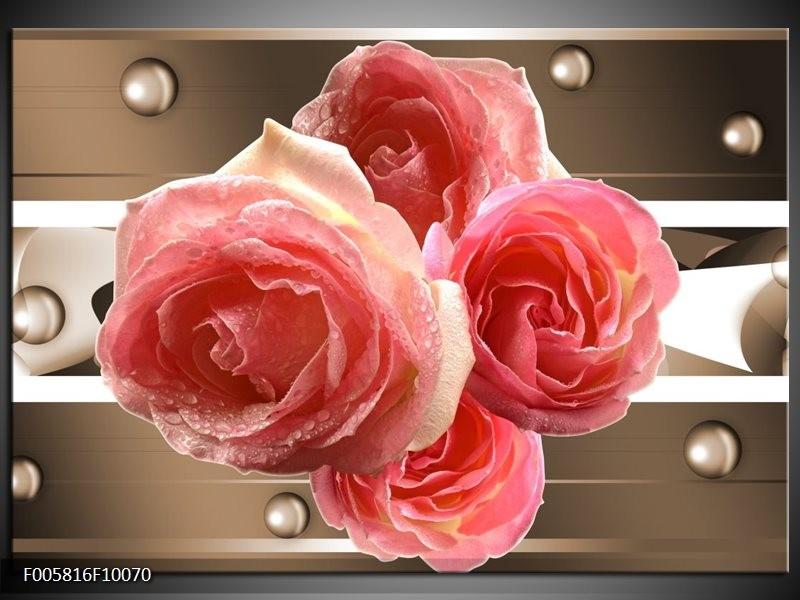 Glas schilderij Roos | Sepia, Roze