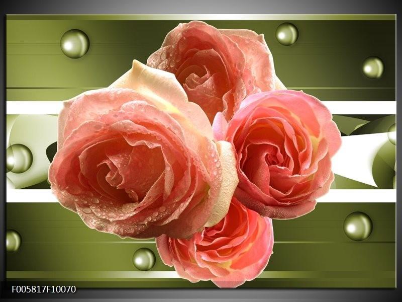 Glas schilderij Roos | Groen, Roze