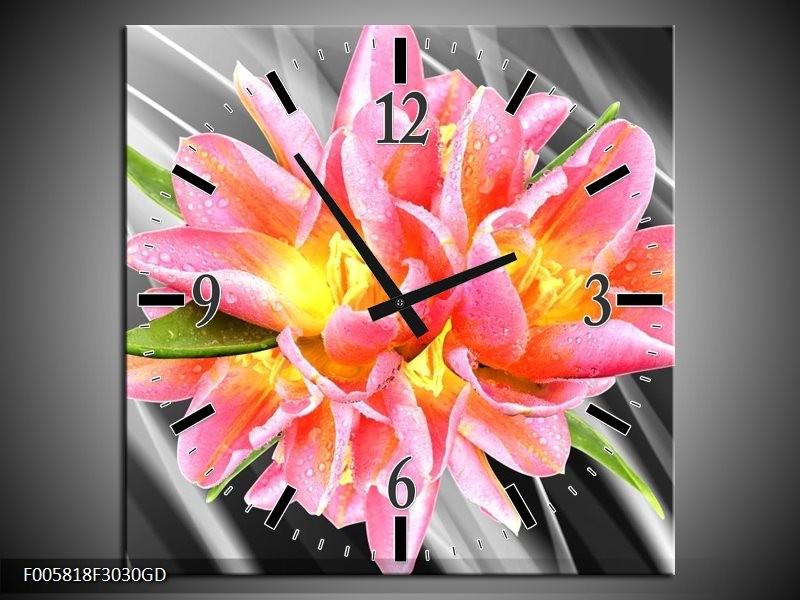 Wandklok op Glas Modern | Kleur: Roze, Grijs, Geel | F005818CGD