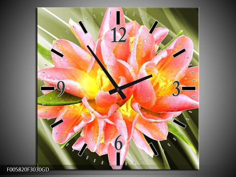 Wandklok op Glas Modern | Kleur: Groen, Roze, Geel | F005820CGD