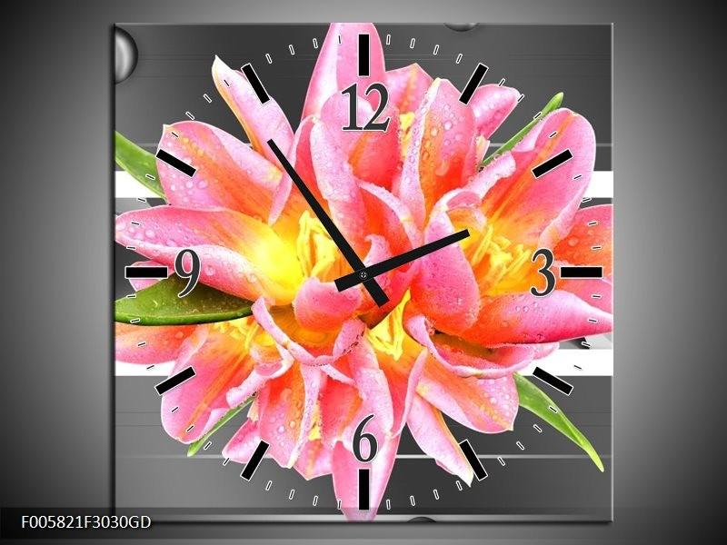 Wandklok op Glas Modern | Kleur: Roze, Grijs | F005821CGD
