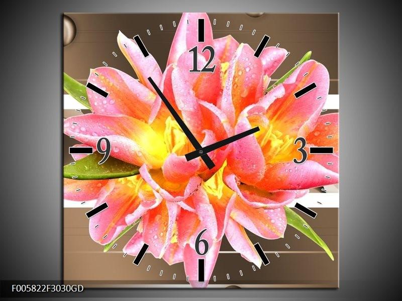 Wandklok op Glas Modern | Kleur: Bruin, Roze | F005822CGD