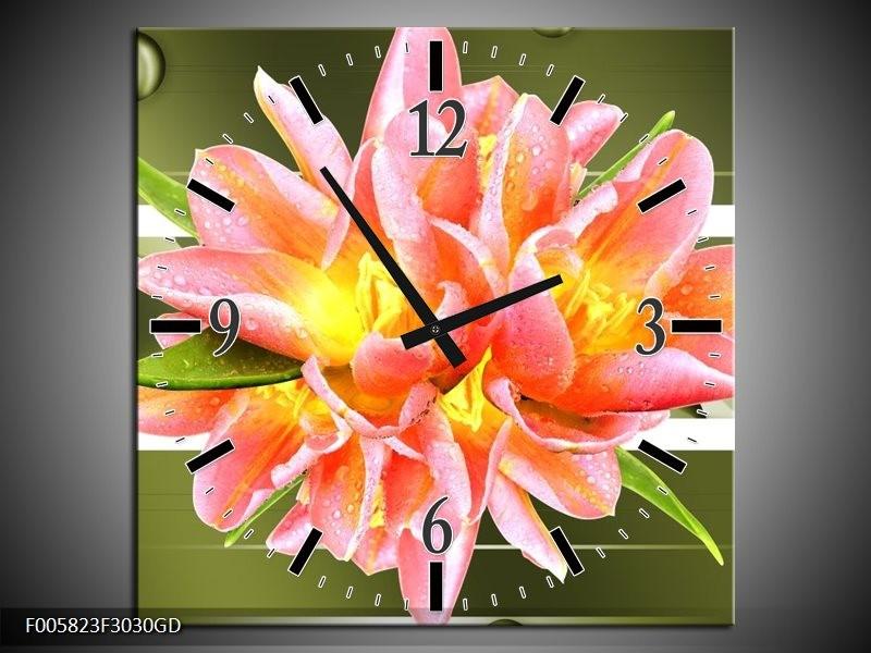 Wandklok op Glas Modern | Kleur: Groen, Roze | F005823CGD