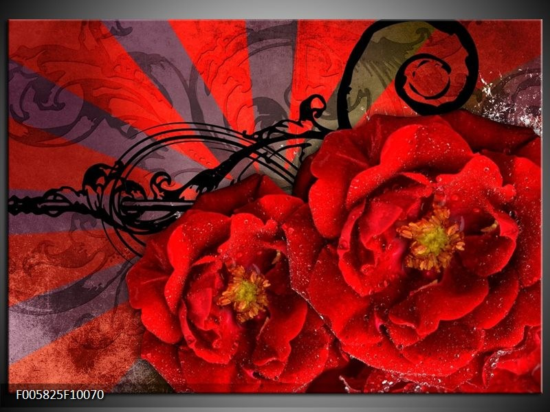Glas schilderij Modern | Rood, Zwart