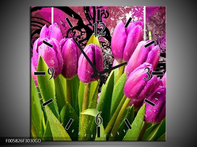 Wandklok op Glas Tulpen | Kleur: Paars, Groen, Roze | F005826CGD
