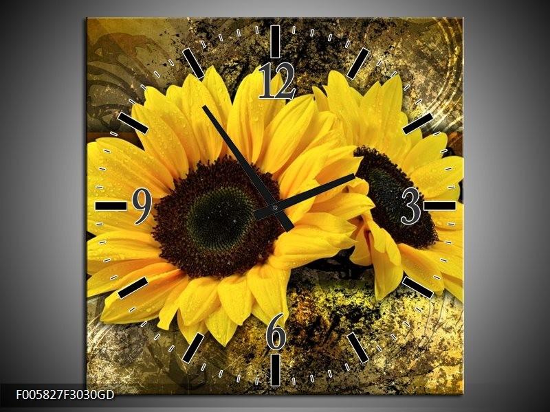 Wandklok op Glas Zonnebloem | Kleur: Geel, Bruin, Goud | F005827CGD