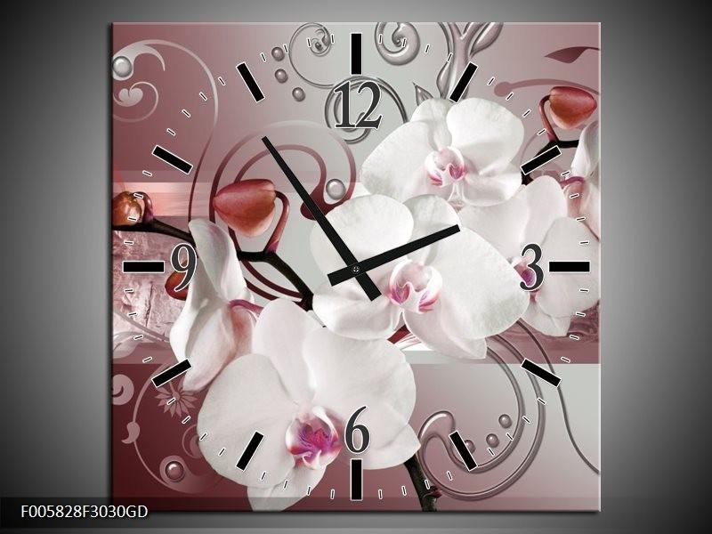 Wandklok op Glas Orchidee | Kleur: Wit, Grijs | F005828CGD