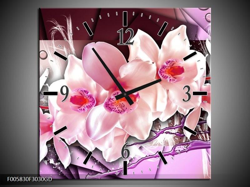 Wandklok op Glas Orchidee | Kleur: Paars, Roze, Wit | F005830CGD