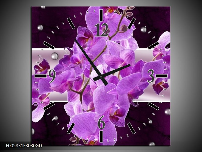 Wandklok op Glas Orchidee | Kleur: Paars | F005831CGD