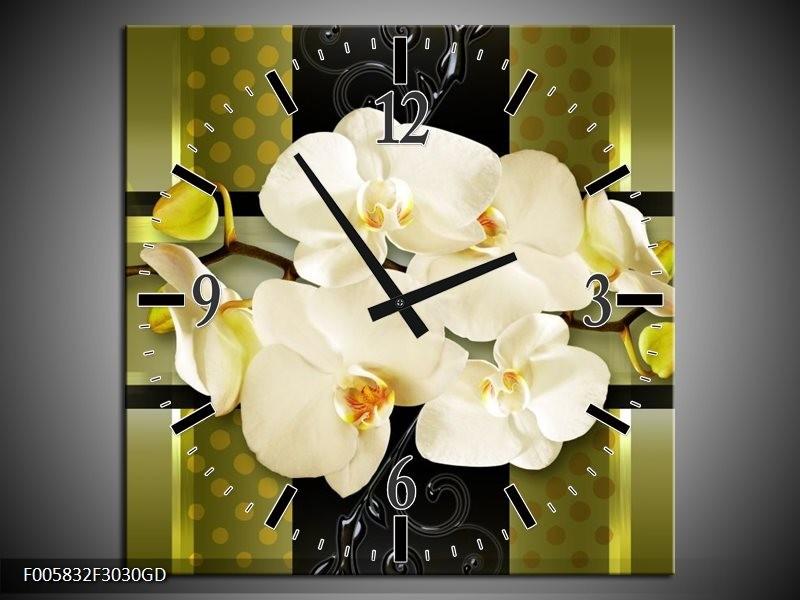 Wandklok op Glas Orchidee | Kleur: Groen | F005832CGD