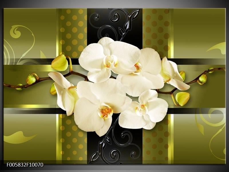 Glas schilderij Orchidee | Groen