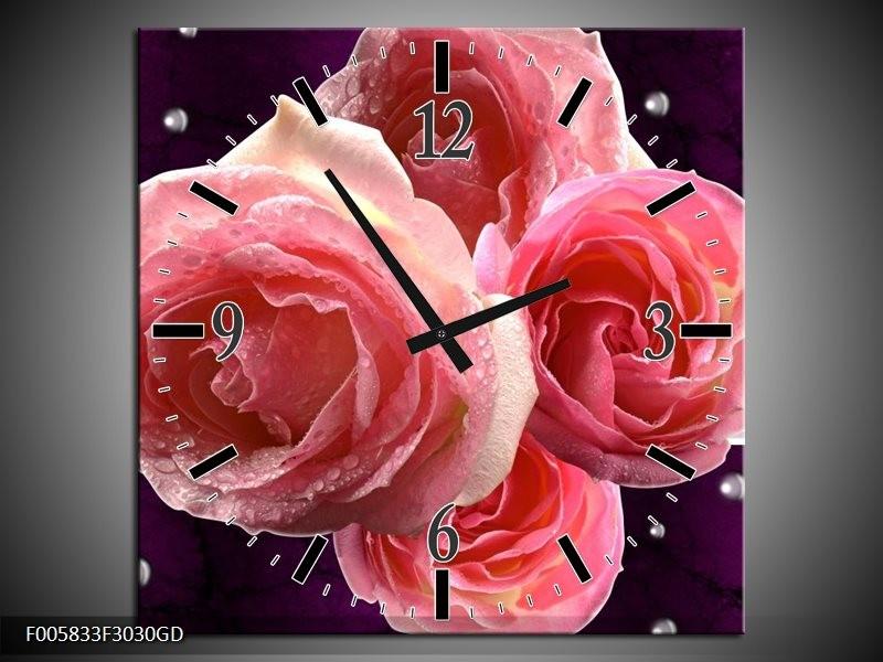 Wandklok op Glas Roos | Kleur: Paars, Roze | F005833CGD