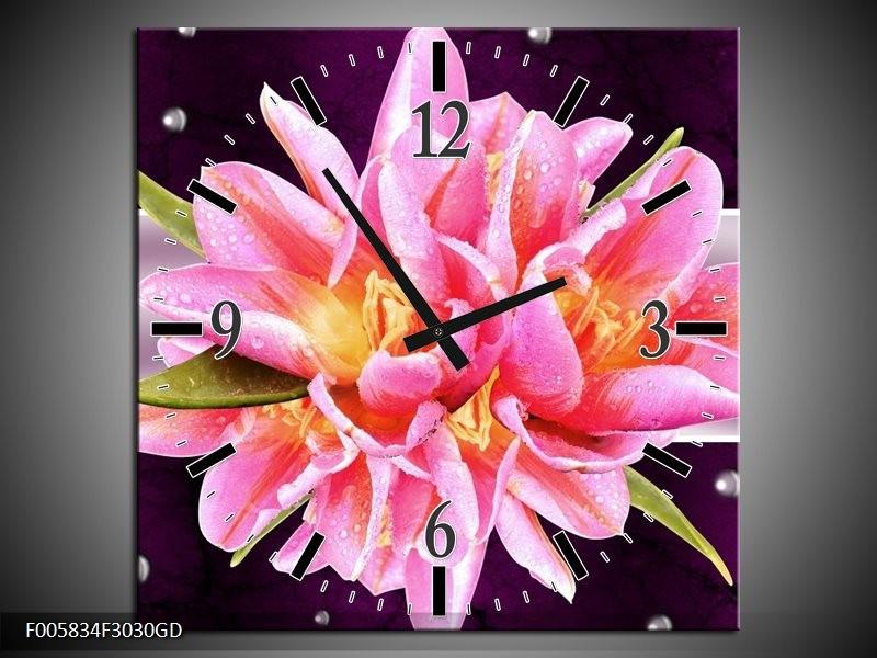 Wandklok op Glas Modern | Kleur: Paars, Roze | F005834CGD