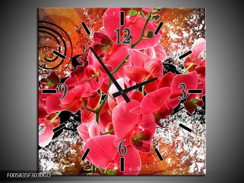 Wandklok op Glas Orchidee | Kleur: Roze, Rood, | F005835CGD