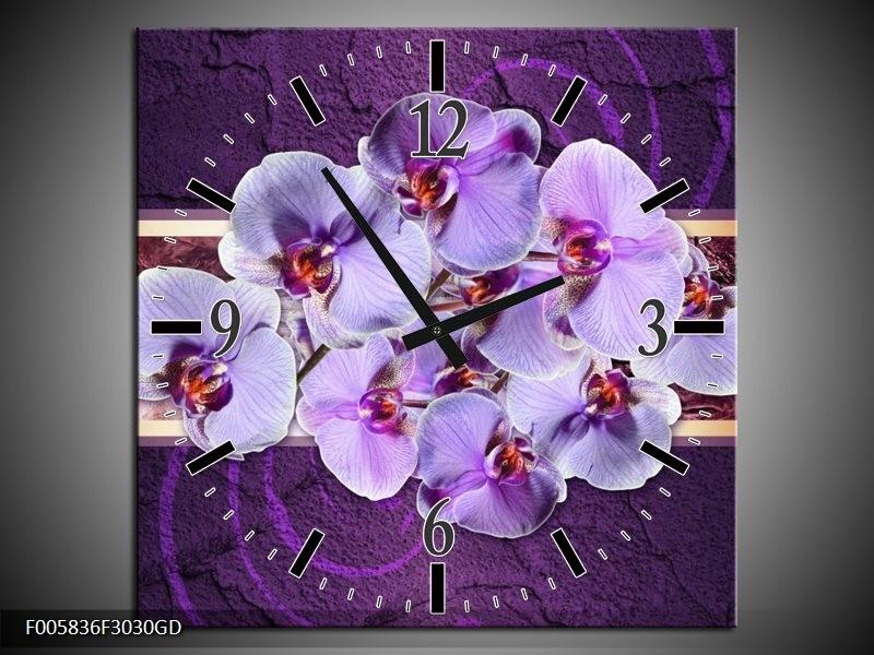 Wandklok op Glas Orchidee | Kleur: Paars | F005836CGD