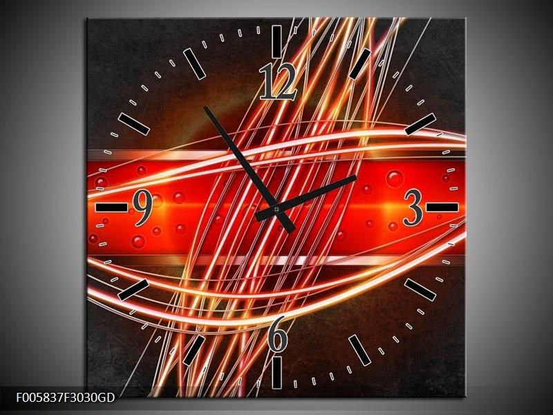 Wandklok op Glas Modern | Kleur: Rood, Oranje, Zwart | F005837CGD