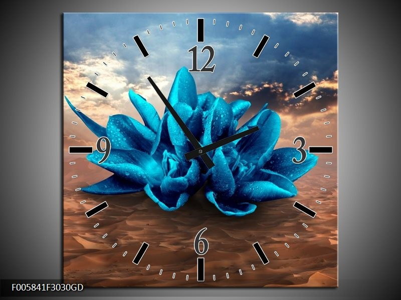 Wandklok op Glas Modern | Kleur: Blauw, Bruin | F005841CGD