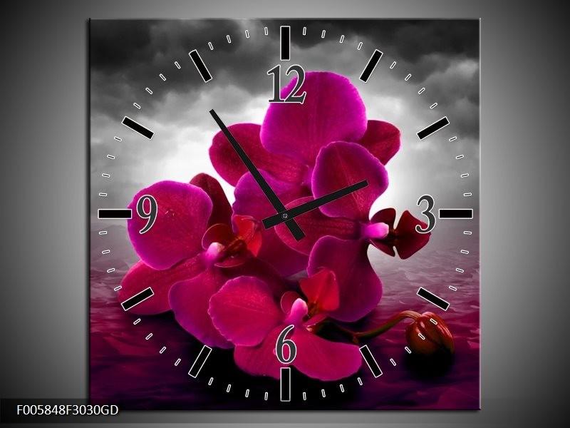 Wandklok op Glas Orchidee | Kleur: Rood, Grijs, Paars | F005848CGD