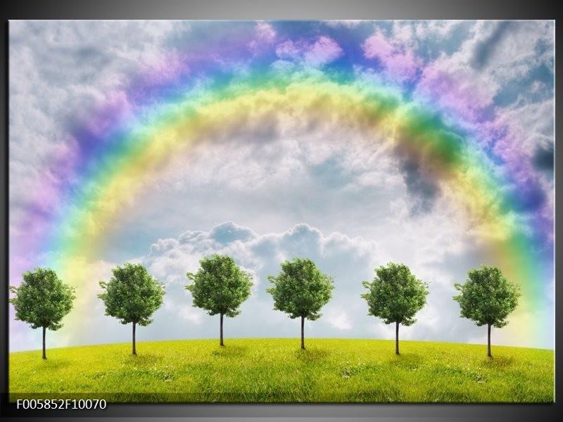 Glas schilderij Bomen | Groen, Grijs, Paars