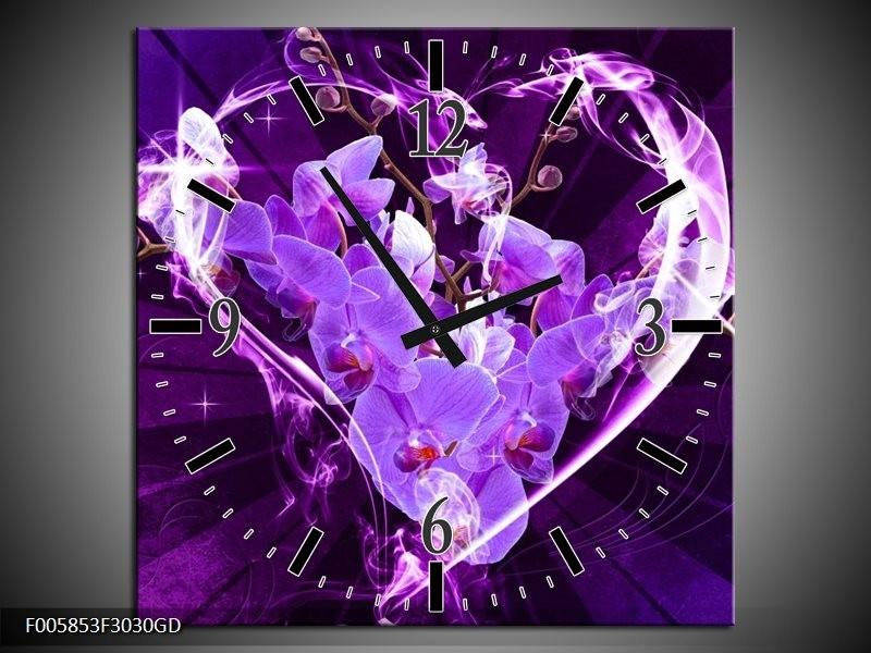 Wandklok op Glas Orchidee   Kleur: Paars, Roze   F005853CGD