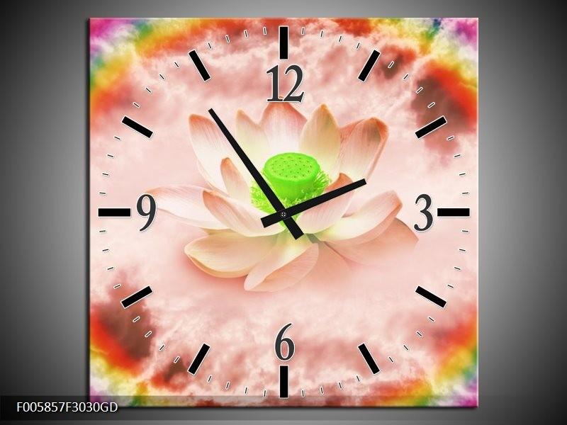 Wandklok op Glas Lelie | Kleur: Roze, Groen | F005857CGD