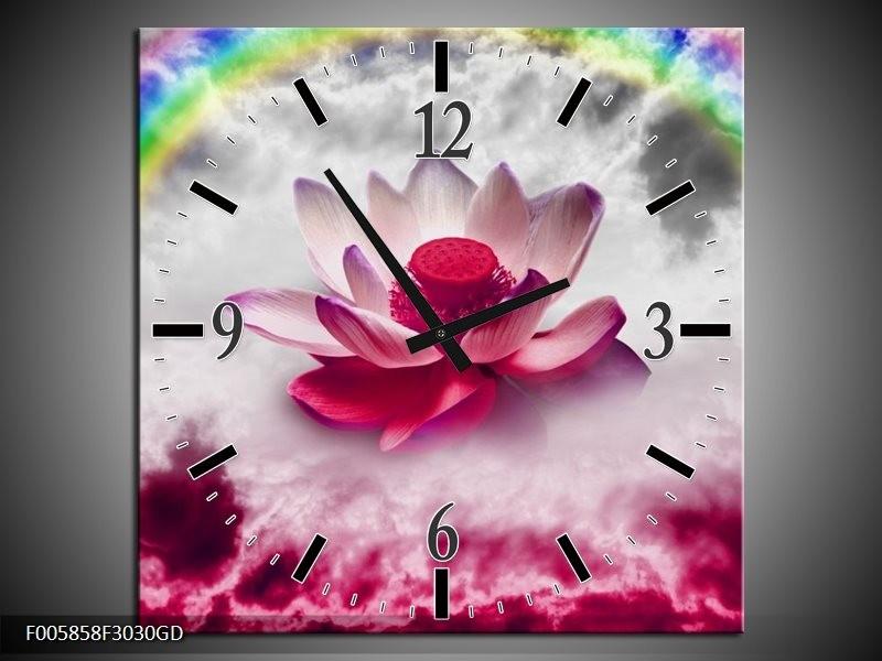 Wandklok op Glas Lelie | Kleur: Roze, Grijs | F005858CGD