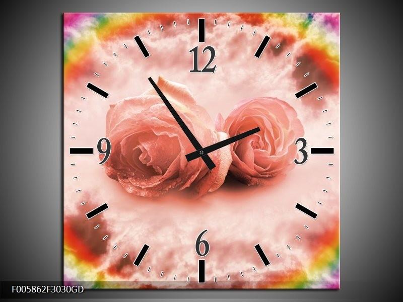 Wandklok op Glas Roos | Kleur: Roze | F005862CGD