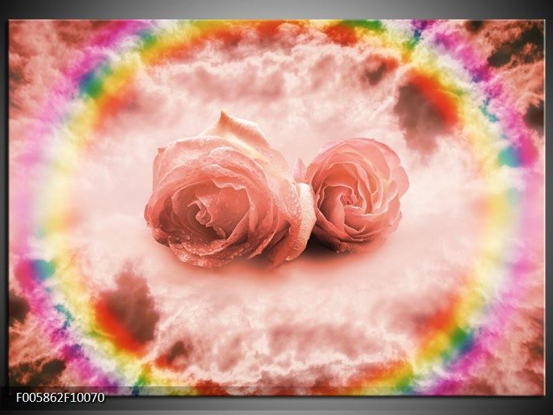 Glas schilderij Roos   Roze