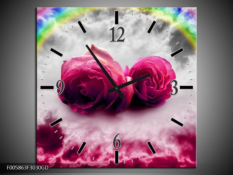 Wandklok op Glas Roos | Kleur: Roze, Grijs | F005863CGD