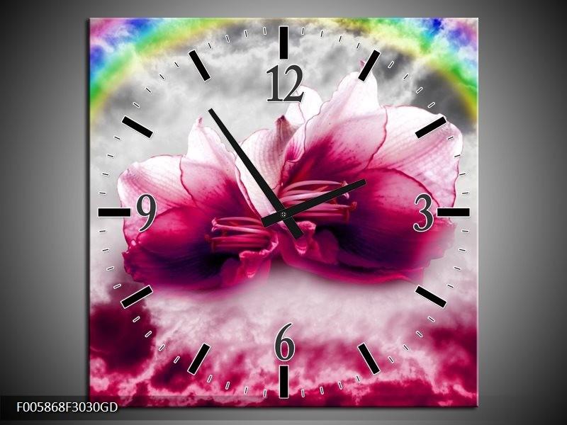Wandklok op Glas Lelie   Kleur: Roze, Grijs   F005868CGD