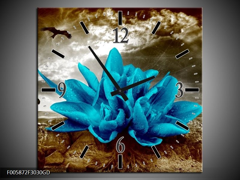 Wandklok op Glas Lelie | Kleur: Blauw, Grijs | F005872CGD