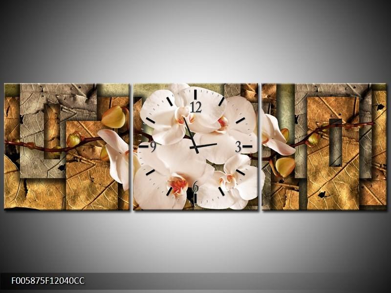 OP VOORRAAD  Wandklok op Canvas Orchidee | 120X40CM CC | F005875C